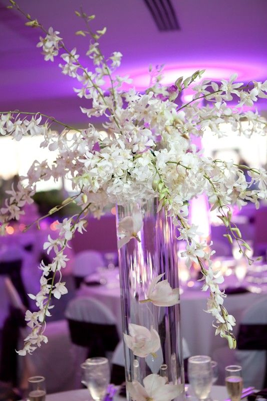 Tall centerpiece dendrobium orchids and white hydrangeas