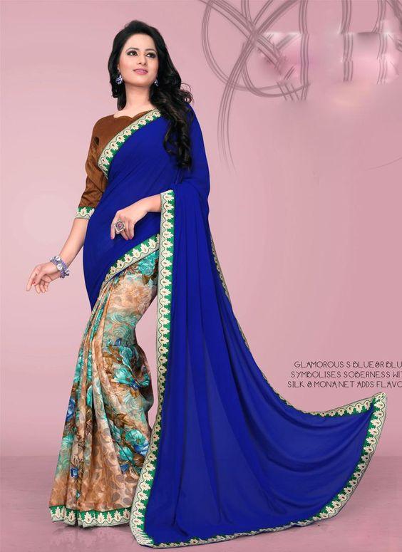 Glorious Multi Colour Print Work Brasso Casual Saree
