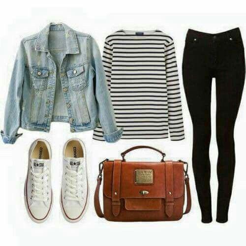 Outfit cómodo para ir a la escuela con chamarra de mezclilla converse y maleta café blusa de rayas y pantalón negro