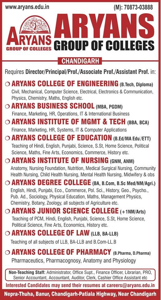We Are Hiring Aryans Group Of Colleges Chandigarh Requires Candidates In Various Departments Including Computer Science Business School We Are Hiring