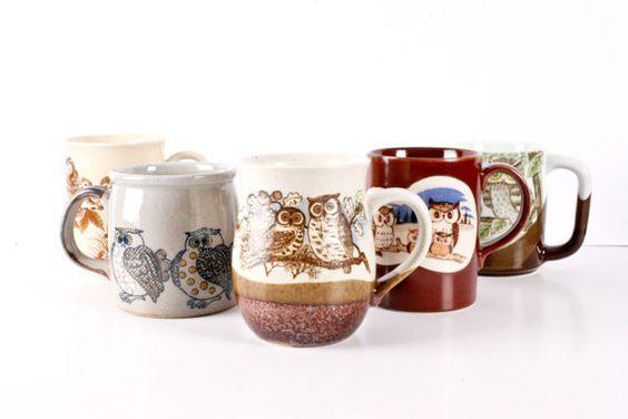 Set of 5 Hodge Podge Owl Mugs