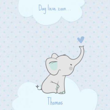 Lief rouwkaartje olifant op wolk jongen