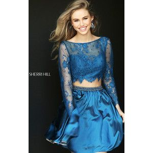 Lace Beaded Navy Sherri Hill 50556 Short Homecoming Dress