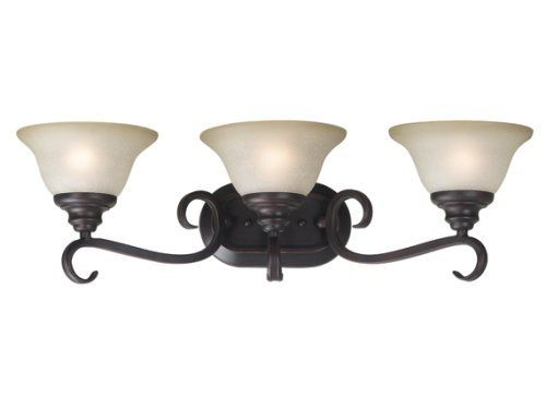 """Kenroy Home 80473ORB Welles Three-Light Vanity Light With 7-Inch Cream Scavo Glass Shades, Oil Rubbed Bronze by Kenroy Home. Save 22 Off!. $113.81. From the Manufacturer                Bell shaped frosted glass shades balance delicately on sweeping curves. Welles has the silhouette of an open flower centered by a tiered bottom plate and is available in brushed steel or oil rubbed bronze finishes.                                    Product Description                """"For over 50 years, the…"""