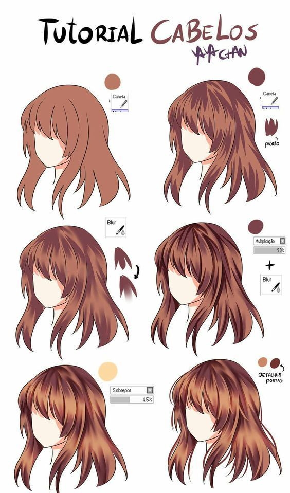 Drawing Lessons Pencil Watercolor Acrylic Painting On Canvas Sketch Drawing Hair Tutorial Anime Hair Color How To Draw Hair