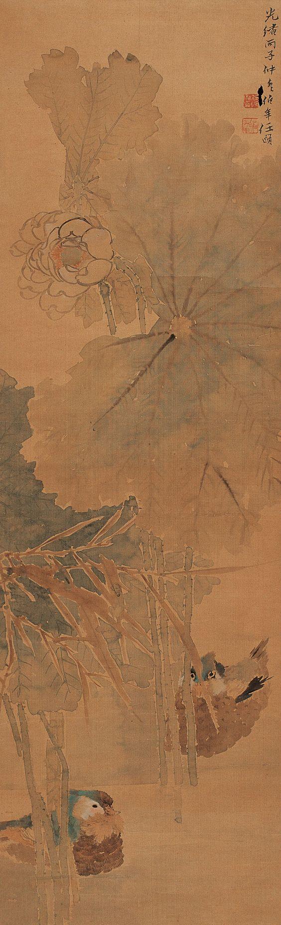 Ren Bonian(任伯年) , 荷花鸳鸯图 1876年作