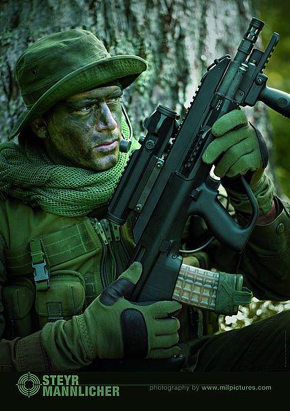 Steyr Aug A3 - bull pup design, sweet rifle.