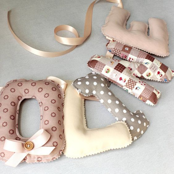 Fabric Letters, Name Banner, Bunting Letters, Baby Name Garland, Name Wall Art, Nursery Wall Letters, Old Pink, Beige, Taupe