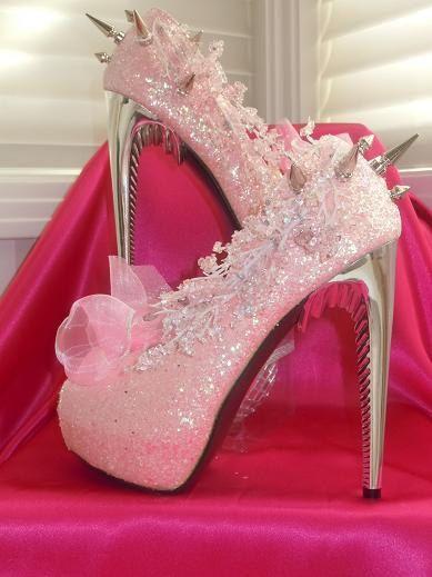 High Heel Platform Spiked Women Shoes Pink Princes Glitter size 8 ...