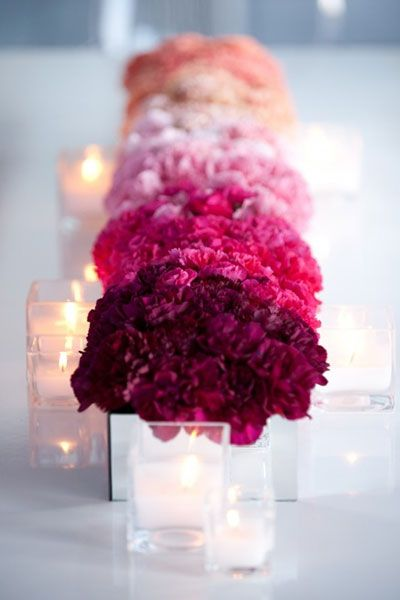 If you love the look of ombre but are on a budget - consider carnations! These ruffly bloomed flowers are hardy, affordable, and come in a variety of colors to achieve the ombre look. Shop carnations and other affordable wedding and wholesale flowers at GrowersBox.com!: