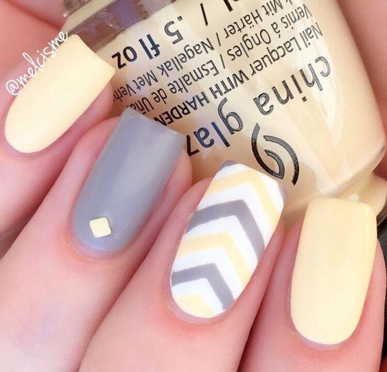 Pastel Yellow & Grey are a match made in heaven. #spring #chinaglaze #chevronnails Nail Design, Nail Art, Nail Salon, Irvine, Newport Beach