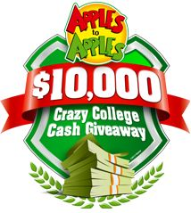 Apples to Apples $10,000 Crazy College Cash Giveaway