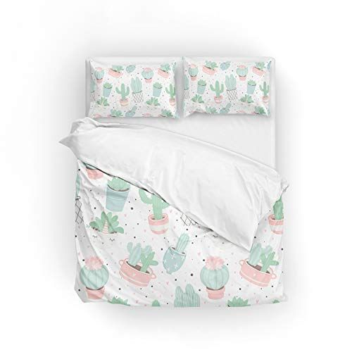 2pcs Duvet Cover Set Twin Soft Polyester Cute Cacti Printed Bedding Comforter Cover 1 Pillow Shams Print Bedding Duvet Cover Sets Comforter Cover