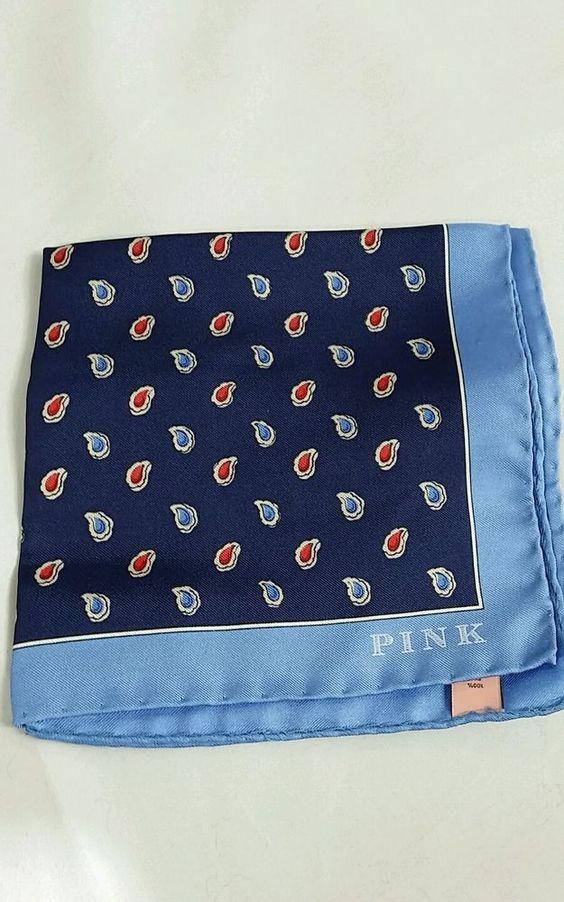 Thomas Pink Paisley Print Navy/Red 100% Silk Pocket Square Italy 13x13 NIP$70 #ThomasPink #Novelty