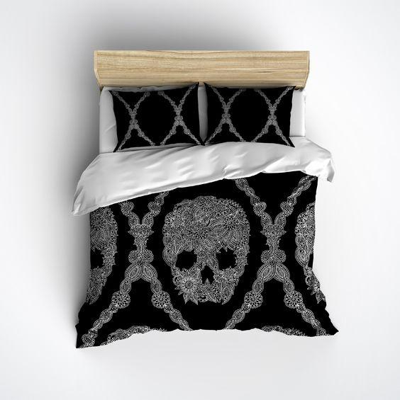 Black and White Lace Skull Duvet Bedding Sets