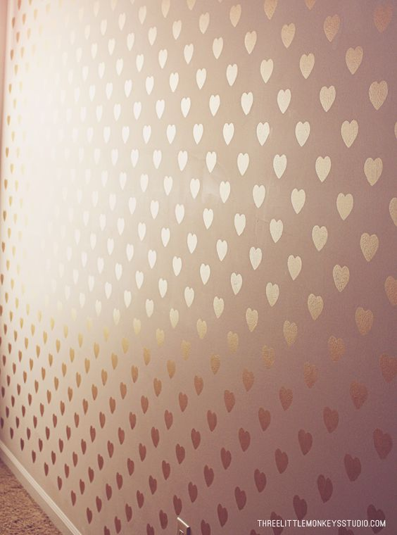#DIY Metallic Heart Feature Wall with Modern Masters Pale Gold | Girls Room Wall | Three Little Monkeys Studio