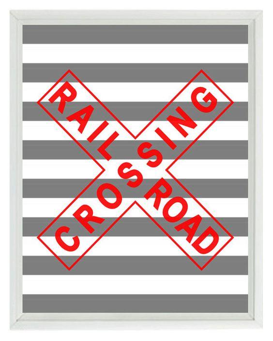 Train Railroad Sign Art Print  Nursery Boy Room by RizzleandRugee, $15.00