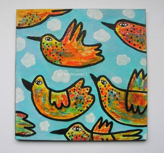 VOGELSCHWARM von Herbivore11 Unikat Vogel Vögel bunt Inchie Quadrat Kunst Bild