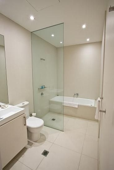 Bathroom. Wet room   good solution to fit separate bath shower into a small