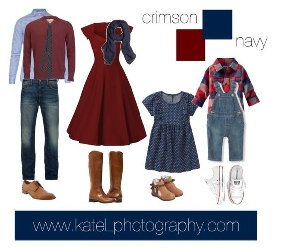 Navy/crimson outfit inspiration: what to wear for a family photo session in the fall. Created by Kate Lemmon, www.kateLphotography.com