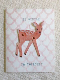 Warrior Girl- art and transformation: Be Gentle To Yourself woodland animal greeting card by Rowena Murillo