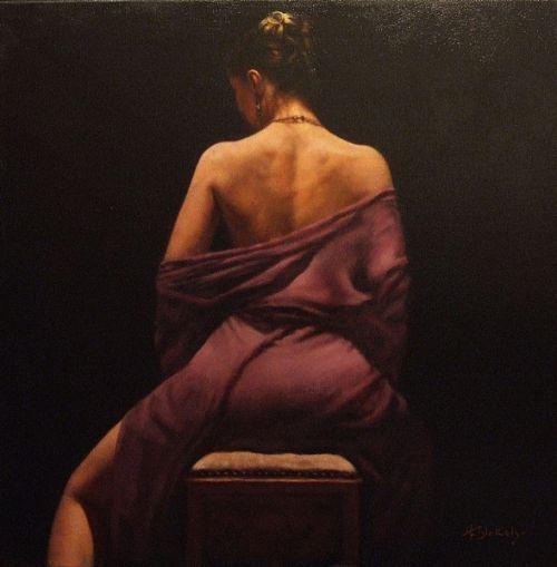 Hamish Blakely pinturas estilo clássico corpos realistas mulheres de costas ombros sensual: