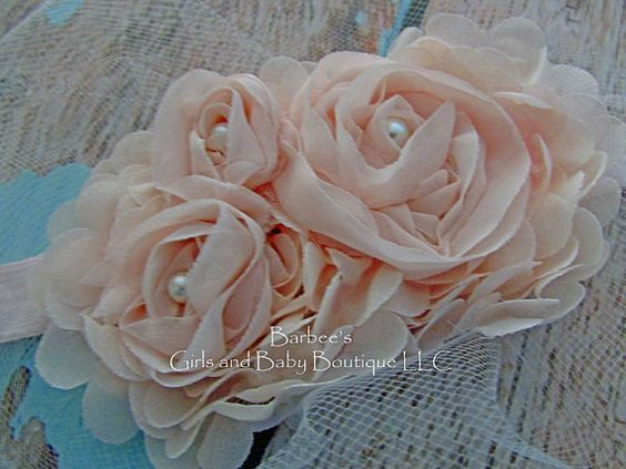 Blush Pink Ivory or White Chiffon Flower by BarbeesGirlsandBaby
