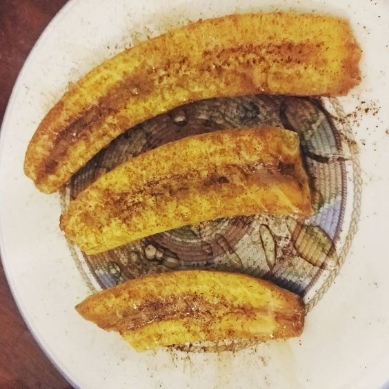 Plantains fried in coconut oil then topped with honey and cinnamon for a healthy sweet dessert #bodybuilding #nutrition #cooking #food #dessert