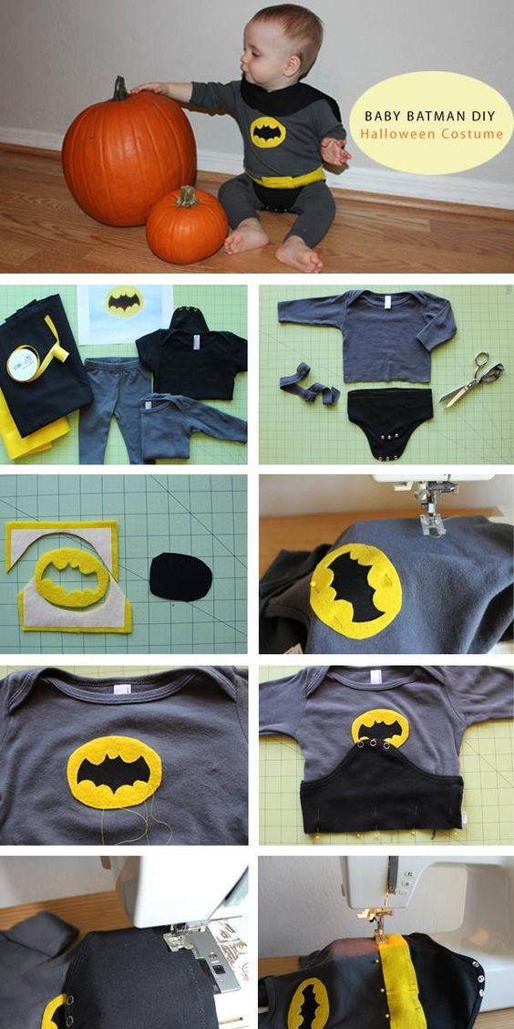 DIY Superhero Costume : DIY Baby Batman Halloween Costume - Link doesn't go to the tutorial - just for ideas for B's Robin costume...