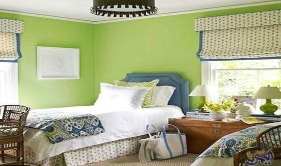 ديكورات باللون الأخضر لمنزل يتمي ز بالهدوء والراحة النفسية Bedroom Wall Colors Green Paint Colors Bedroom Green Baby Room