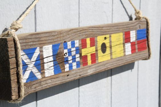 Custom Nautical Flag Sign Name with 4 letters by DocksideCottage, $39.99