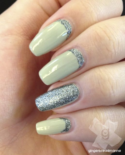 Green glitter nails.