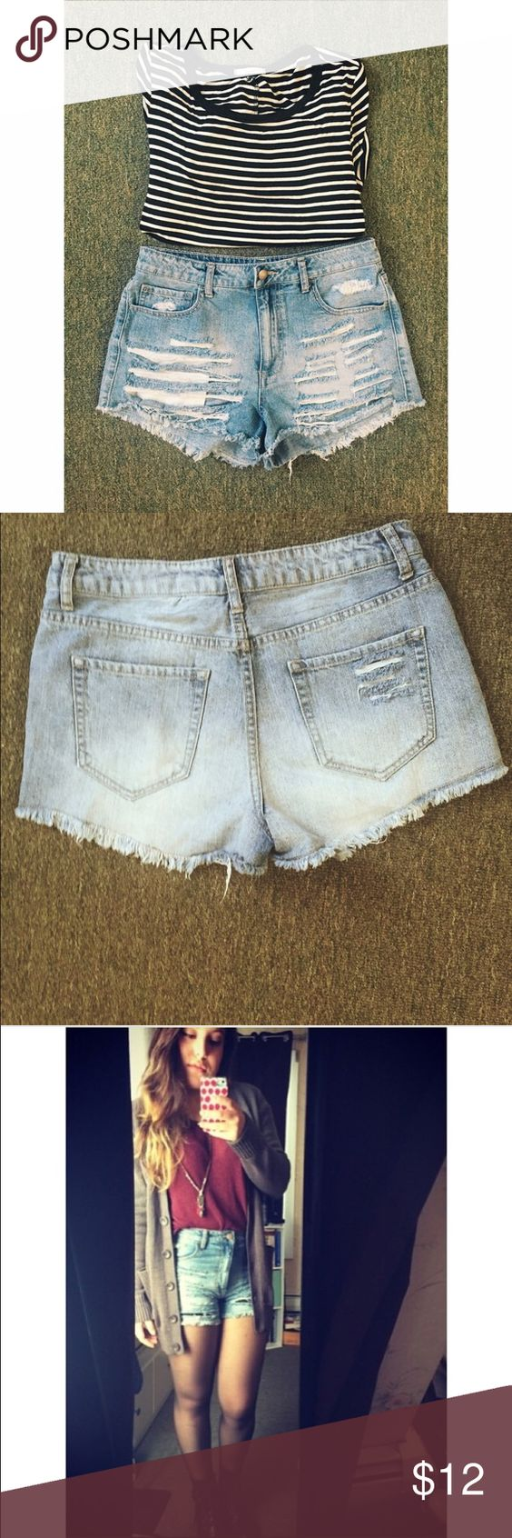 Ripped high waisted shorts. Really cute high wasted shorts that are very versatile. I have even worn in the fall with some black tights and a light sweater. As shown in last picture. Shorts