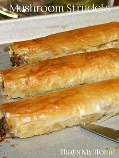 Mushroom Strudels are an easy appetizer with crispy filo dough full of a creamy mushroom mixture.