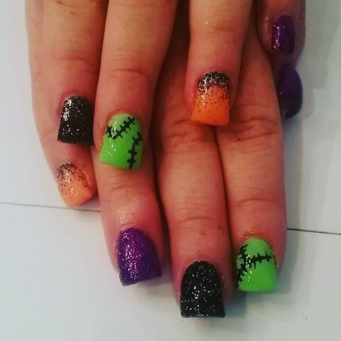 On Sale Halloween Le 10 31 Green Black Orange Purple Glitter Custom Handmade Indie Nail Polish Halloween Nail Designs Halloween Nails Nails