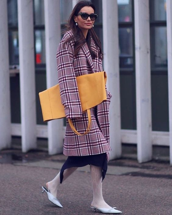 large yellow leather tote bag, purple coat plaid print, check print purple coat, oversize yellow ochre color tote bag, (scheduled via http://www.tailwindapp.com?utm_source=pinterest&utm_medium=twpin)