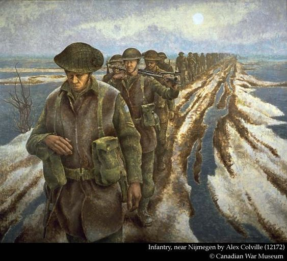 Infantry, near Nijmegen by Alex Colville (12172) Canadian War Museum  This image shows soldiers of the 3rd Canadian Infantry Division walking in the Netherlands