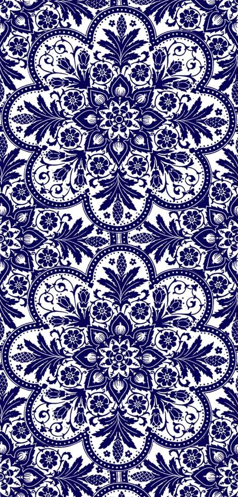 (TSP9) spoonflower.com... pattern somewhere between mandala, Eastern European-ish motifs, and maybe a dash of Zentangle. But cheerful, elegant, and blue. https://www.facebook.com/CrescentDragonwagonFearlessly