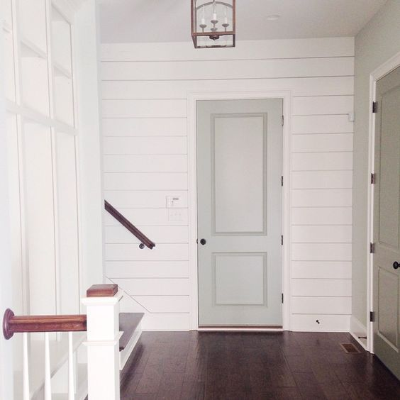 """Enjoyed a walk with my little family this afternoon in one of my favorite Kentucky neighborhoods and stumbled upon numerous open houses #mykindofwalk  I loved the soft gray interior doors in this one and how they contrast with the planked wall."" Photo taken by @housecollected on Instagram, pinned via the InstaPin iOS App! http://www.instapinapp.com (04/12/2015):"