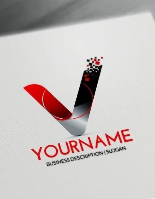 Free Letters Logo Maker Modern V Logo Creator Initials Logo