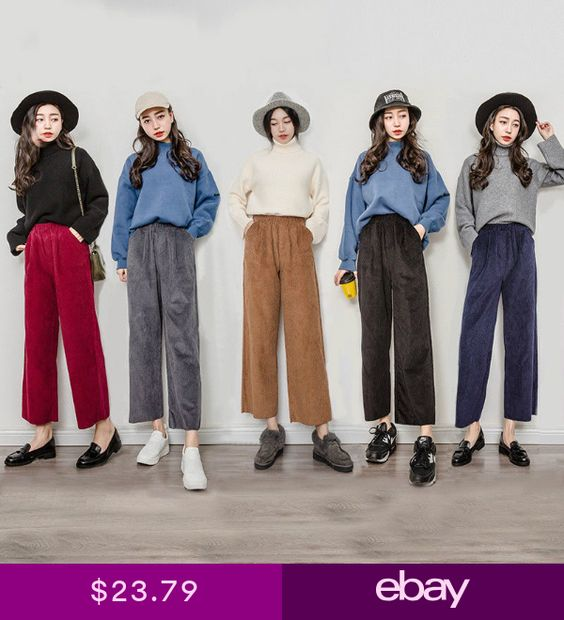 Retro Lady Corduroy Pants High Waist Loose Wide Leg Flared Cropped Trouser Charm