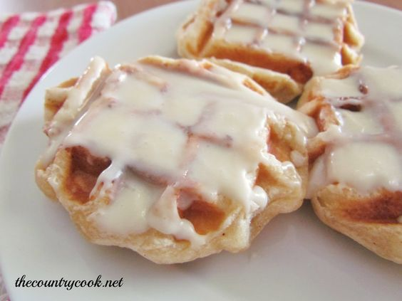 Mini Cinnamon Roll Waffles