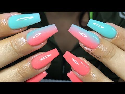 Acrylic Nails Tutorial Vertical Coloured Ombre Youtube Ombre Acrylic Nails Acrylic Nails Acrylic Nails Coffin