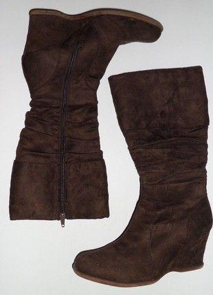bottes marron chocolat compensées