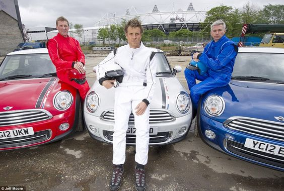 Props to old pal Tim @ Freud for this one.     Olympic heroes: From left, rowers Matthew Pinsent and James Cracknell and triple jumper Jonathan Edwards star as the drivers of special edition red, white and blue Minis in pursuit of a gold thief