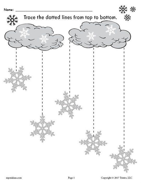 Printable Winter Snowflakes Line Tracing Worksheets Line Tracing Worksheets Tracing Worksheets Tracing Worksheets Free Winter theme worksheets for preschoolers