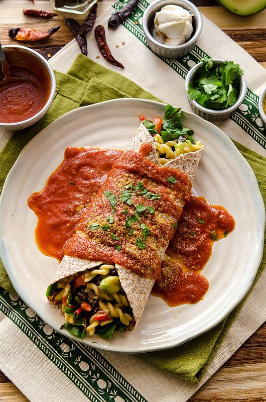 Mexican Mac Burrito with Red Sauce #vegan!