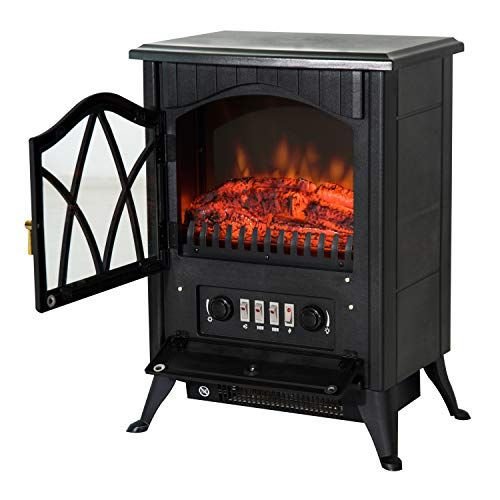 Homcom Free Standing Electric Fireplace With Fan And Log Burning Flame Effect 1800w 900w Free Standing Electric Fireplace Electric Fireplace Fireplace Logs