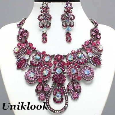 Rich Pink Clear Ab Bib Crystal Statement Necklace Set Fashion Costume jewelry