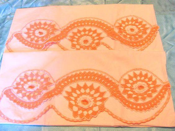 Crochet Pillow Cases / Pair Vintage Crochet by VintageLoversShop